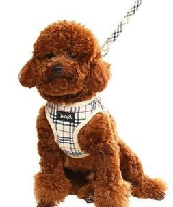 PUPTECK Soft Mesh Small Dog Harness & Leash Nova Check Padde