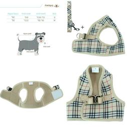 Pupteck Soft Mesh Small Dog Harness With Leash Basic Plaid P