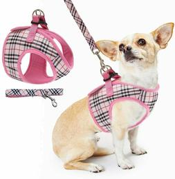 PUPTECK Soft mesh Small PINK PLAID DOG HARNESS PADDED & LEAS