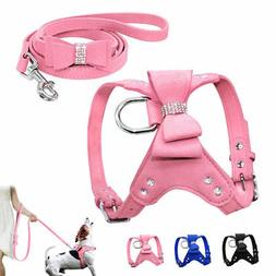 Soft Suede Dog Harness and Leash Bling Rhinestone for Small