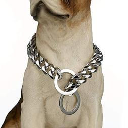 "Stainless Steel Dog Collar, 15mm 22"" Fancy Slip Chain - Best"