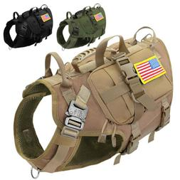 Tactical Dog Harness with Pouch Patch Large Breed K9 Militar