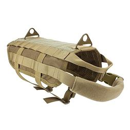 OUTRY Tactical Dog Training Harness MOLLE Vest with Pulling