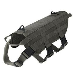 Pettom Tactical Dog Training Molle Vest Suits Harness with D