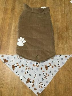 Tan Corduroy Dog Coat Jacket & Harness Paw Print Pet Accesso