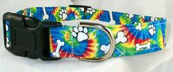 Tie Dye Bones Paws Designer Dog Collar, Martingale with leas
