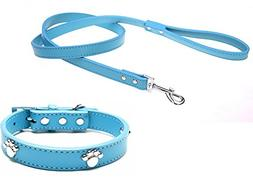 365CorOne Set Desinger Leather Dog Collars and Leashes of Po