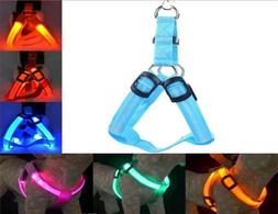 USB RECHARGEABLE CHEST HARNESS LED Pet Dog Glow Flashing Lig