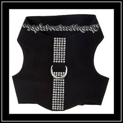 Top Paw Classy~Bling! Black Faux Suede Dog Vest Harness Rhin