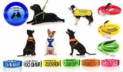 WARNING ALERT DOG COLLAR LEAD HARNESS COAT! AWARD WINNING PE