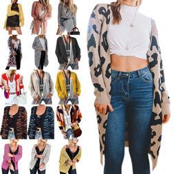 Women's Long Sleeve Knitted Sweater Open Cardigan Jacket Coa